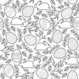Безшовная картина вектора с пасхальными яйцами, зайчиками Стоковое Изображение