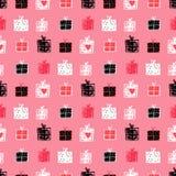 Безшовная картина вектора с прелестными подарочными коробками doodle на красном b стоковая фотография rf