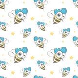 Безшовная картина вектора с пчелами Иллюстрация вектора