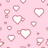 Безшовная картина вектора с сердцами на розовой предпосылке Стоковое Изображение