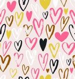 Безшовная картина вектора с сердцами grunge Валентайн влюбленности s дня предпосылки Стоковые Фотографии RF