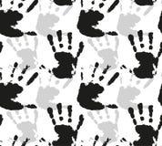 Безшовная картина вектора с силуэтами печатей акварели рук детей Стоковые Фото
