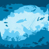 Безшовная картина вектора с силуэтами рыб и кораллов Стоковая Фотография RF