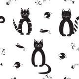 Безшовная картина вектора с смешными черными котами Стоковые Изображения RF