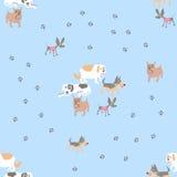 Безшовная картина вектора с собаками Стоковая Фотография