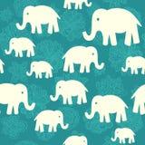 Безшовная картина вектора с слонами Стоковые Фотографии RF