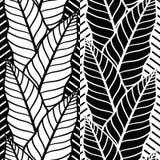 Безшовная картина вектора с тропическими листьями Иллюстрация штока