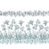 Безшовная картина вектора с цветками в горизонтальных прямых бесплатная иллюстрация