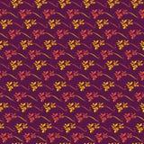 Безшовная картина вектора с цветками орхидеи на пурпуре иллюстрация штока
