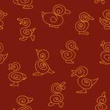 Безшовная картина вектора с swirly утятами бесплатная иллюстрация