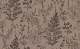 Безшовная картина вектора трав и цветков бесплатная иллюстрация