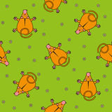 Безшовная картина вектора для детей взгляд сверху и стоцвет обезьяны шаржа на зеленой предпосылке Стоковые Фото