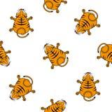 Безшовная картина вектора для детей Взгляд сверху новичка тигра на белой предпосылке Стоковые Фотографии RF