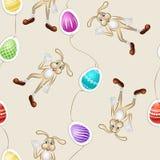 Безшовная картина весны с пасхальными яйцами и кроликами Стоковые Изображения RF