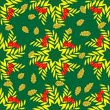 Безшовная картина ветвей рябины в форме star-02 Стоковые Фотографии RF
