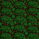 Безшовная картина ветви рождества с красными ягодами стоковые изображения
