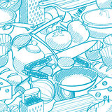 Безшовная картина вещества кухни Стоковое фото RF