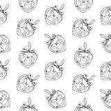 Безшовная картина винтажной и игрушек лошади нарисованных рукой шариков сердца Элементы дизайна рождества и Нового Года Стоковые Изображения RF