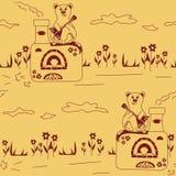 Безшовная картина винтажной русской печи и медведя Стоковое фото RF