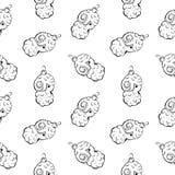 Безшовная картина винтажной шариков и игрушек овец нарисованных рукой Элементы дизайна рождества и Нового Года Стоковые Фото