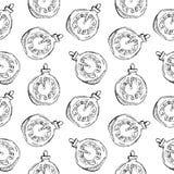 Безшовная картина винтажной шариков и игрушек часов нарисованных рукой Элементы дизайна рождества и Нового Года Стоковая Фотография RF