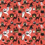 Безшовная картина винтажных счастливых значков хеллоуина плоских Hallowe Стоковое Изображение