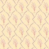 Безшовная картина вишневого цвета на желтой предпосылке Стоковые Фотографии RF