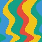 Безшовная картина волн с красочными кривыми для текстуры ткани, обоев или другой предпосылки Стоковое Изображение RF