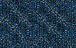 Безшовная картина вышитая на голубой предпосылке текстуры джинсовой ткани Иллюстрация вектора