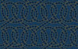 Безшовная картина вышитая на голубой предпосылке текстуры джинсовой ткани Иллюстрация штока