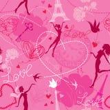 Безшовная картина в розовых цветах иллюстрация штока
