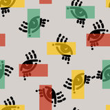 Безшовная картина в современном стиле психоделических глаз С прямоугольниками Бесплатная Иллюстрация