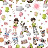 Безшовная картина в стиле шаржа с детьми, игрушками, любимчиками, помадками, мороженым, воздушными шарами Обои концепции ребенка стоковое фото rf