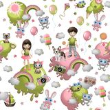 Безшовная картина в стиле шаржа с детьми, игрушками, любимчиками, помадками, мороженым, воздушными шарами Обои концепции ребенка стоковая фотография rf