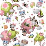 Безшовная картина в стиле шаржа с игрушками, любимчиками, помадками, мороженым, воздушными шарами Текстура обоев концепции ребенк стоковая фотография