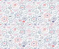 Безшовная картина в стиле школы Комплект нарисованный рукой bubbl речи Стоковые Изображения