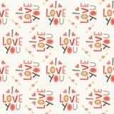 Безшовная картина влюбленности битника в сливк и красном цвете Стоковая Фотография RF