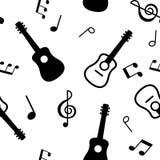 Безшовная картина гитар и музыкальные примечания Стоковое Изображение RF
