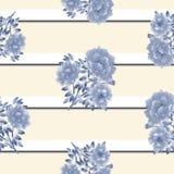 Безшовная картина голубых цветков на светлой бежевой предпосылке с черно-белыми горизонтальными нашивками акварель Стоковое Фото