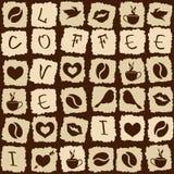 Безшовная картина головоломки кофе Стоковая Фотография