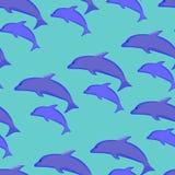 Безшовная картина голубых дельфинов бесплатная иллюстрация