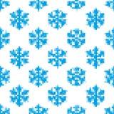 Безшовная картина голубых снежинок Стоковая Фотография