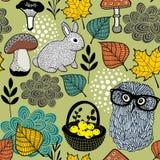 Безшовная картина грибов и животных леса Стоковая Фотография RF