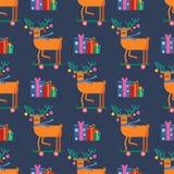 Безшовная картина для поздравительной открытки веселого рождества с милым ани бесплатная иллюстрация