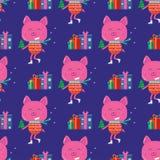 Безшовная картина для поздравительной открытки веселого рождества с милым pi бесплатная иллюстрация