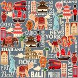 Безшовная картина достопримечательностей и объекты различных стран иллюстрация штока