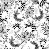 Безшовная картина декоративных цветков и заводов иллюстрация вектора