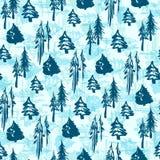 Безшовная картина деревьев зимы Стоковое фото RF