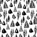 Безшовная картина деревьев зимы Стоковая Фотография