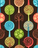 Безшовная картина деревьев Стоковое Изображение RF